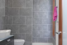 Large tile bathroom design