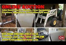 7/19/16 AUCTION: Farm Equipment, John Deere Tractor, Furniture, Antiques, Collectibles / Bidding has ended for this auction. Stay tuned to http://www.comasmontgomery.com/ for more upcoming auctions.   ONLINE ONLY AUCTION: JOHN DEERE TRACTOR, FARM EQUIPMENT, MOWERS, ANTIQUES, FURNITURE & MORE!  590 Squire Jones Road, Bell Buckle, Tennessee.  BID NOW ONLINE ONLY UNTIL Tuesday, July 19th, 2016 @ 7:00 PM.  #johndeere #tractor #farm #equipment #forsale #auction #appliances #furniture #elvis #titans #collectibles #tools #materials #personal #property #bellbuckle #tennessee