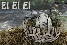 Ei Ei Ei / Auspacken, hinstellen, und sich freuen. Ein Zementei auf Heu gebettet und mit Apfelbaumästen dekoriert in einem Korb aus Treibholz. Der Korb hat einen Durchmesser von 38 cm. Zusammen wiegt der Artikel 312 g.