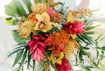 Tropical Lux Bouquets / These bouquets often include non-tropical blooms such as dahlias for their hot colours + interesting large tropical leaves.