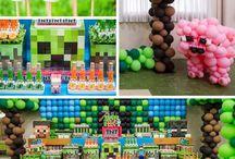 Anniversaire Minecraft/ Minecraft Party / Un anniversaire autour du jeu Minecraft, déco, pâtisseries, jeux...