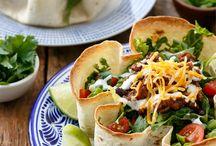 Beef taco salad with tortilla bowls