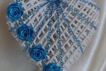 modré srdce s korálkama krásné