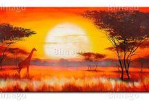 Esprit africain / Décorations murales inspirées des paysages naturels d'Afrique : savane, animaux sauvages, signes et symboles africains... Découvrez cette large sélection de tableaux et de papiers peints et laissez le soleil entrer dans votre intérieur !