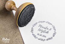 Stemple ślubne / Drewiane stemple retro do zaproszeń ślubnych, podziękowań ślubnych, opakowań firmowych adreswoych, winietek, wizytówek ip