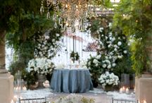 White or ivory with blue weddings
