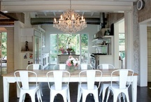 farmhouse tables paired with modern chairs / by Cait