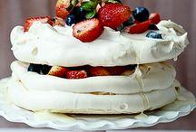 White, light desserts