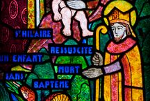 stain glass, eve, old woman / old woman puppet play