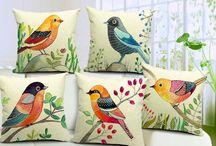 pájaros para cojines pintados