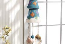 vasetti di terracotta decorati