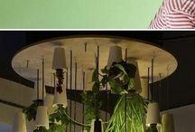 Luminárias com plantas