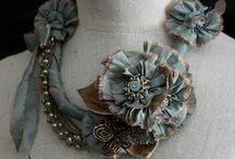 Fabric necklace and flowers