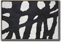 Horizontal Black White Paintings / Horizontal Black White Paintings, hand painted over size minimalist art on canvas painting.