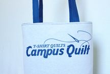 "Totes / These bags are our most afforable item starting at $39.95. The dimensions are approximately 14"" x 14"" x 5"". Order one of your own today: http://www.campusquilt.com/order/t-shirt-bag.html / by Campus Quilt Company"