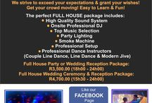 DJ - Lighting & Dance Entertainment / The perfect FULL HOUSE package includes: - High Quality Sound System - Onsite Professional DJ - Top Music Selection - Party Lighting - Smoke Machine - Professional Setup - Professional Dance Instructors (Couple Line Dance, Line Dance & Modern Jive)  www.mjdc.mobi