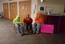 National Hunger & Homelessness Awareness Week 2015 / Partners for Affordable Housing created life-size displays to represent the families we serve every day. Each sweatshirt had a message on why people end up homeless. The signs had local statistics about homelessness in our community. #homelessinkato