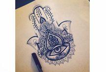 hamsa tattoo's,  hand van Fatima tattoo's designs, tattoo's addiction