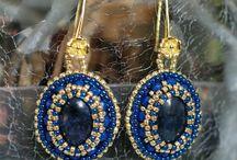 EARRINGS - vintage, boho style earrings, textile earrings, shabby chic earrings, fiber earrings / Earrings.