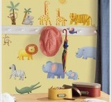 Jungle themed accessories / A selection of jungle themed products for the bedroom or when out and about including Skip Hop Monkey storage, fun jungle animal storage bins from 3 Sprouts and brightly coloured jungle wall stickers from Forwalls and Roommates