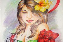 Fantasy girl sketches / Fantasy girl with beautiful hairs