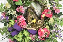 """Spring / Summer Wreaths, 2018 / Ladybug Wreaths focuses on """"Wild & Woodsy"""" Natural Wreaths on Wild Birch bases.  These unique, one-of-a kind wreaths that are highly sought after by faithful customers.  www.LadybugWreaths.com"""