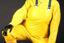Wearing raincoat