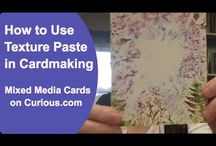 Cards - Texture Paste / For building dimensional textures with stencils and more, Layering and creating three dimensional surfaces. Applying paste with a pallette knife. Trick is to let it dry the first time and then when adding the paints/inks etc use a  heat embossing tool to dry the paint.