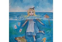 Alice in Wonderland art / These are my watercolours and oil paintings, art based on Lewis Carroll's masterpiece Alice in Wonderland.