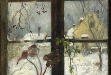 Зима за окном картины