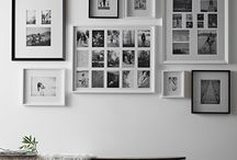 Interior design white photo framing