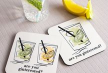 The Drink & Cocktail Collection / A stylish collection of Cocktail & Drink inspired homewares. Including personalised coasters and bar prints.