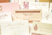 Wedding Accessories - Indian/Fusion Weddings / Coordinated printed accessories: menu cards, placecards, table cards, ceremony programs, itineraries, directions, tags, favor scrolls, napkins, water bottle labels, and more! / by Sharon Patel