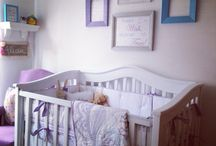 Baby girl nursery / Lilac, white, blue & gray