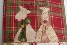 Moldes de natal de toalhas de mesas em patchwork