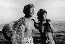 Ama pearl divers / Ama (woman of the sea) free-divers from Japan. They dive for pearls and can hold their breath 2 minutes at a time. A 2000 year old Japanese tradition. They used to dive wearing only a loincloth without scuba gear or  air tanks. Originally they were diving for food, like seaweed, shellfish, lobsters, octopus and sea urchins. They keept diving well into old age. I love these amazing woman! These pictures are credited to Iwase Yoshiyuki