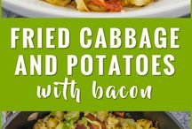 fried cabbage/garlic potato/bacon