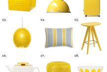 Moodboard interiør gult