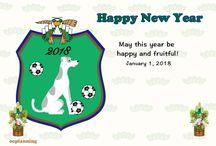 サッカーと犬の年賀状戌年2018