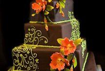 Brown Avogreen Orange Wedding Cake