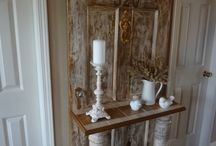 Vintage Door/Window Projects / Love the idea of hanging a vintage window or glass door over a wall stencil.