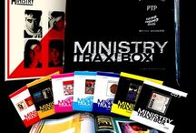 Ministry – Trax! Box / The complete Wax Trax! recordings from Ministry mastermind Al Jourgenson!  This deluxe box set includes 7CDs, 1 Live Vinyl LP (previous unreleased) and a 64-page perfect bound book – all packaged in a patent leather, foil-stamped box!  101 tracks in total including 29 PREVIOUSLY UNRELEASED RECORDINGS! / by Cleopatra Records