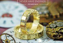 Barocco Striped Wedding Ring - Karikagyűrű / Handmade, Unique yellow gold wedding rings with handmade engraving and small diamonds. Kézzel készült sárga arany karikagyűrű, kézi barokk véséssel és apró gyémántokkal.