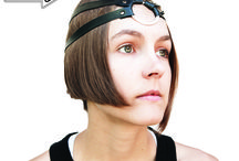 Eco-Rubber Headpieces / Headpieces made of recycled rubber from bicycle inner tubes and metal components from computers. A new trend in head decoration!