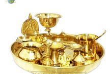 Puja Thalis | Online Store for Puja Thalis from Veidcvaani.com / The Puja Thalis in which Puja is performed are different from those used for offering 'Bhog' to God. These particular thalis or plates are specifically used for performing Arti, in which diyas and karpoor (camphor) are kept. At Vedic Vaani, you will find some amazing and attractive designs in Puja Thalis. Most of these thalis consist of auspicious symbols such as Swastika, Om, Shree, Shubha-Laabh as well as some other popular traditional designs such as flowers, leaves, peacock and many more.