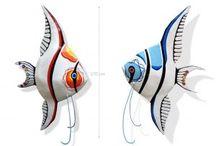 """Jenny Derksen Art: Polyester Sculptures: """"Fish"""" / Kleurrijke polyester sculpturen, beelden, unica, vissen, koi karpers, maanvissen, koraalvlinders."""