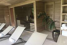 Garden sauna house with panorama and wellness