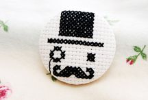 Cross stitch badges