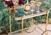 Bar cart style / Beautiful inspiration and ideas for styling a bar cart for a bridal shower, engagement party, rehearsal dinner or bridesmaid luncheon