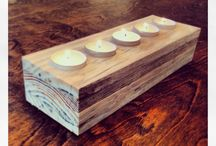 Wood candle, tea light holder